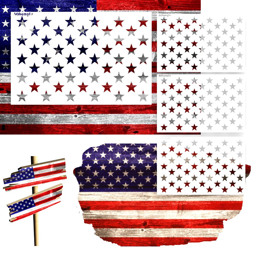Fabric Airbrush,Reusable Starfield Stencil, 1 Large, 3 Small Star Stencil 50 Stars American Flag Stencils for Painting on Wood