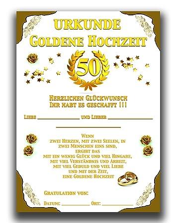 Gold Hochzeitsurkunde Mit Netten Versen Goldene Hochzeit