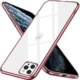iPhone 11 Pro Max ケース クリア スリム tpu 透明 ストラップホール付き 耐衝撃 薄型 シリコン Qi充電対応 メッキ加工 軽量 一体型 6.5インチ 人気 アイフォン 11 Pro Max カバー ローズゴールド