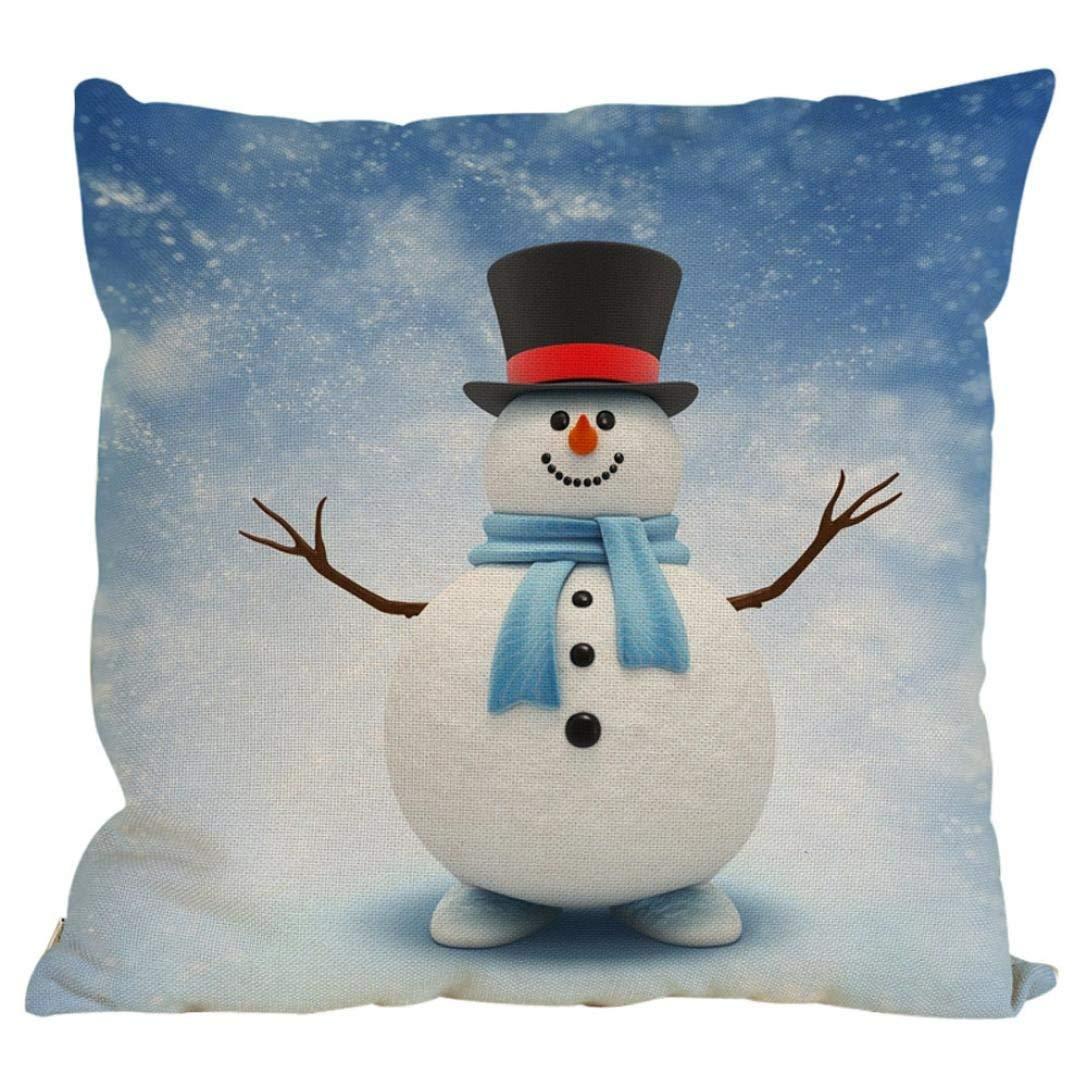 Gotd Xmas 18 x 18 Cushion Cover Snowman Decorative Christmas Throw Pillow Cover Pillowcase Cushion for Sofa (A) Goodtrade8 Goodtrdae8