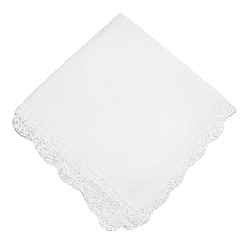 CTM Women's Cotton Bonnie Lace Handkerchief, Pastel Pink WO-0361007-PNK