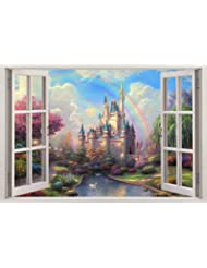 Fantasy Princess Castle 3D Window View Decal WALL STICKER Decor Art Mural H68, Giant