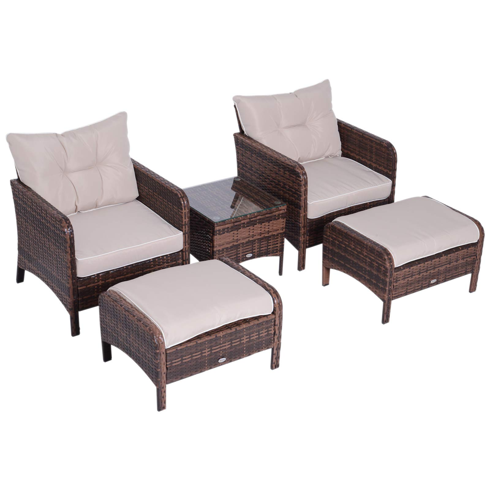 Outsunny 5 Piece Rattan Wicker Outdoor Patio Conversation Set with 2 Cushioned Chairs 2 Cushioned Ottomans and Glass End
