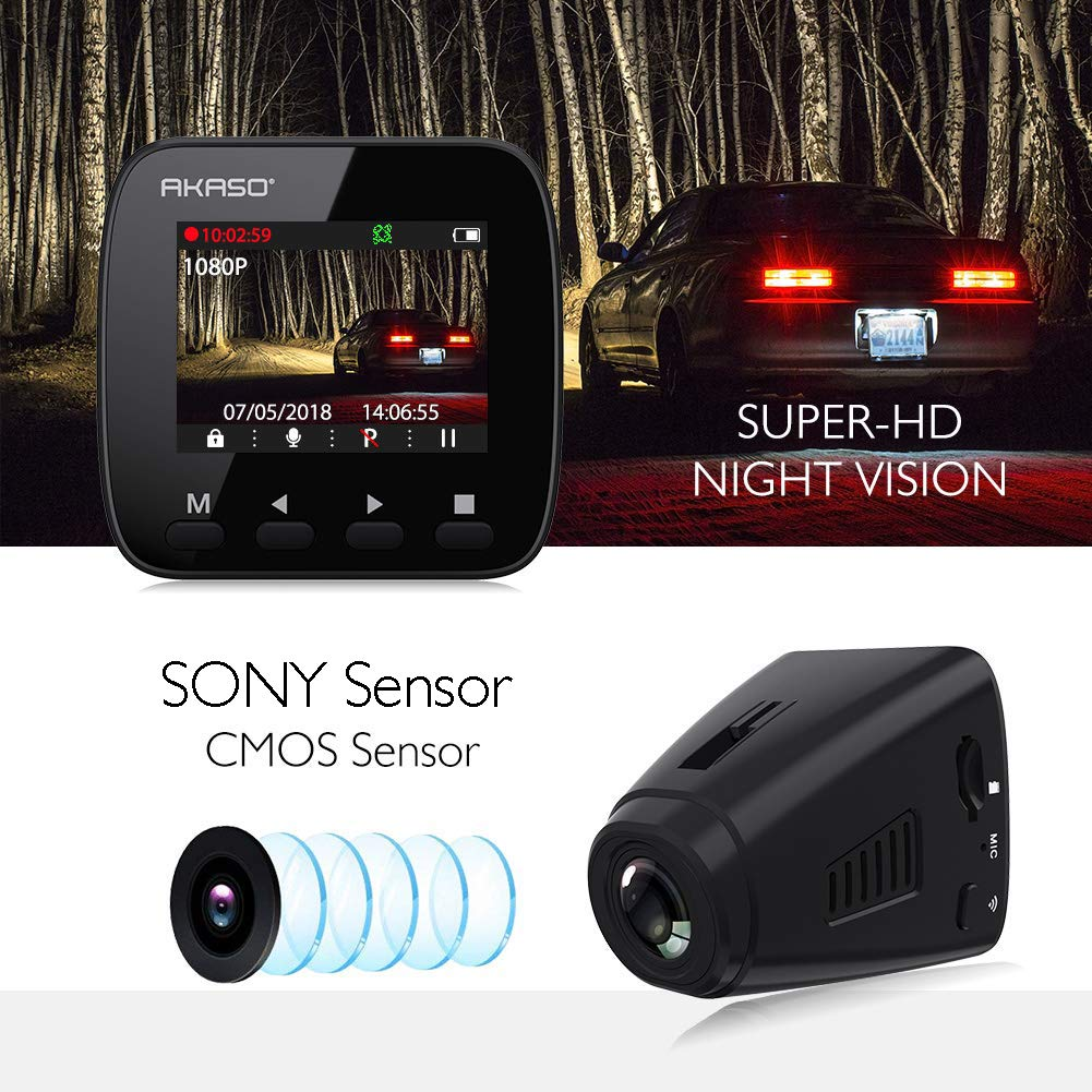 AKASO Dash Cam Dashboard Recording Camera V1 Car Recorder with Sony Sensor, 1296P FHD, GPS, G-Sensor, WIFI with Phone APP, Night Vision, Loop Record, Parking Monitor, 170°Wide Angle, with 16GB Card