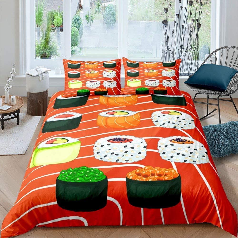 Erosebridal Sushi Bedding Set, Japanese-Style Duvet Cover Twin Size for Kids Boys Teens, Sushi Food Theme Comforter Cover, Stripes Lines Lightweight Bedspread Cover Bedroom Living Room Decor