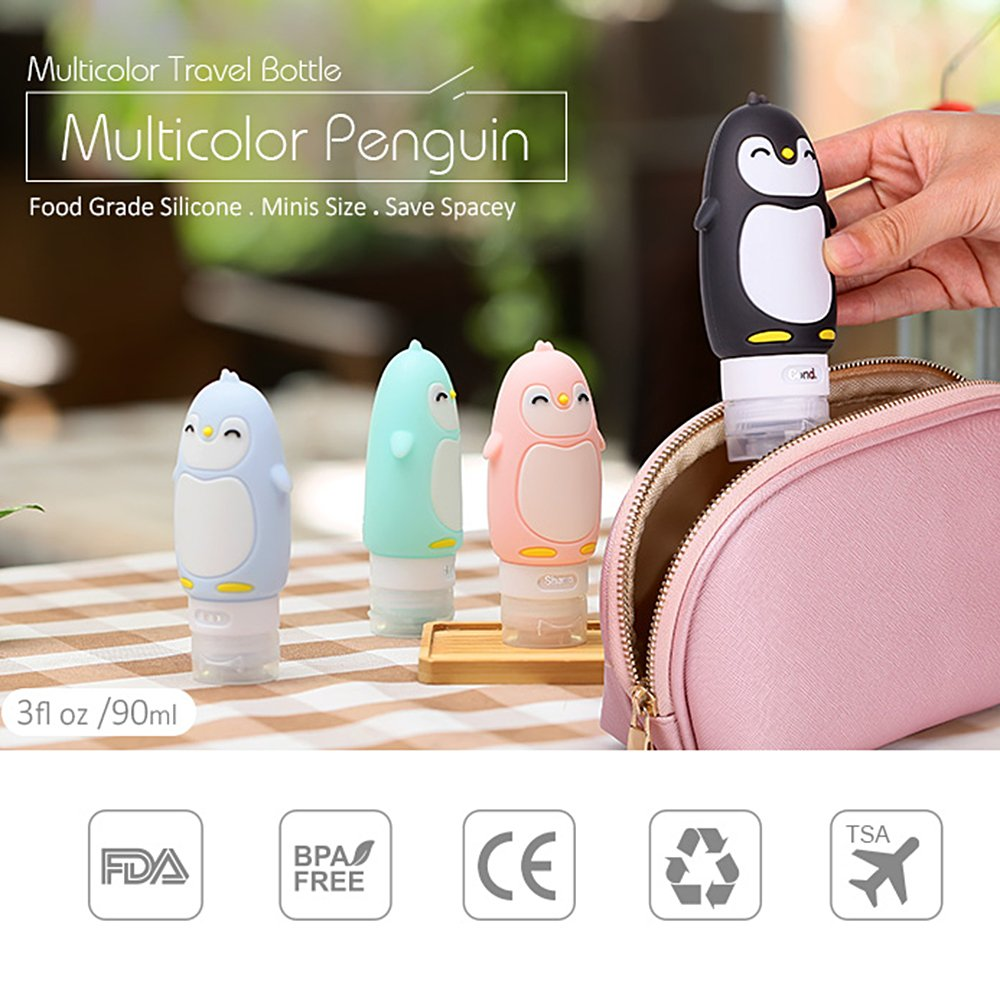 6eecd3a2d510 Haiesee Travel Toiletry Bottles,Smiling Penguin Refillable Airplane Travel  Squeeze Bottles Silicone...