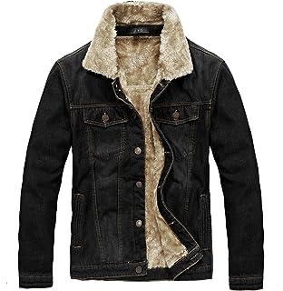 e2bf4d23b866 Zicac Men s Fleeced Denim Jacket Winter Fall Warm Cowboy Coat ...