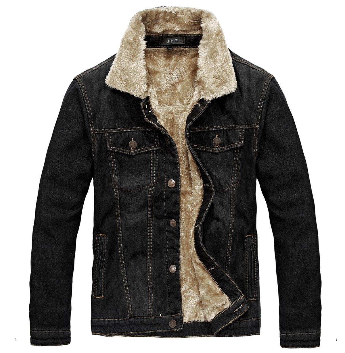 JYG Men's Winter Thicken Sherpa Lined Denim Jacket by JYG
