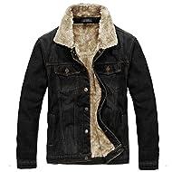 JYG Men's Winter Thicken Sherpa Lined Denim Jacket