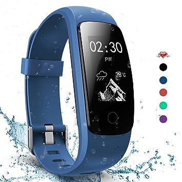 2b773247af AngelaKerry Slim Touch Wasserdicht Fitness Tracker Mit Herzfrequenz,Smart  Fitness Armbanduhr Pulsuhr Schrittzähler,Bluetooth