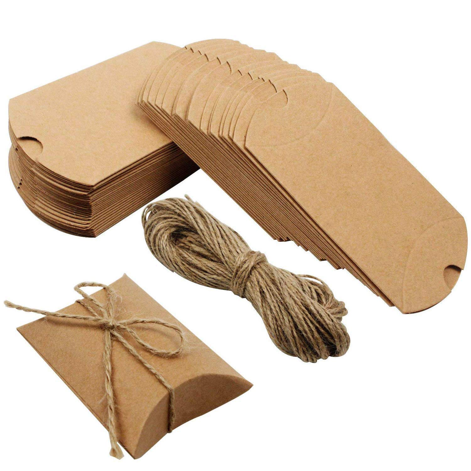 Outuxed 100pcs Kraft Paper Pillow Candy Box for Wedding Party Favor with 100pcs Jute Twine