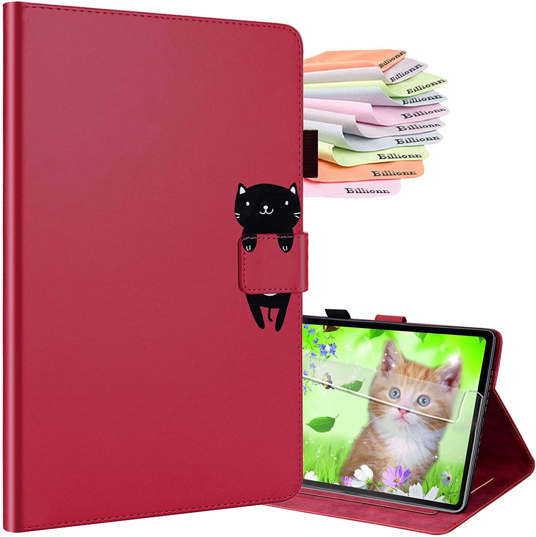 Billionn Smart Folio iPad 9.7 inch 2018 Universal iPad 9.7 2018/2017/iPad Air 2/iPad Air Case + Screen Protector, with Pencil Holder, Auto Wake/Sleep, Red Wine