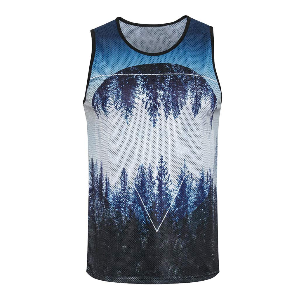 Men's Vest Forest 3D Print Slim Fit Sleeveless Singlet T-Shirt Tank Top Training Bodybuilding Tee (XL, Blue)