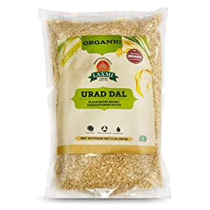 Laxmi Organic Urad Dal (Unhusked Black Lentils) - Traditional Indian Foods - 2lbs