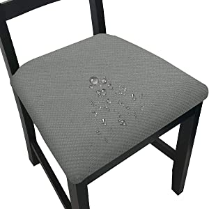 Waterproof Dining Room Chair Seat Covers Kitchen Dining Chair Seat Slipcovers (Light Grey, 6)