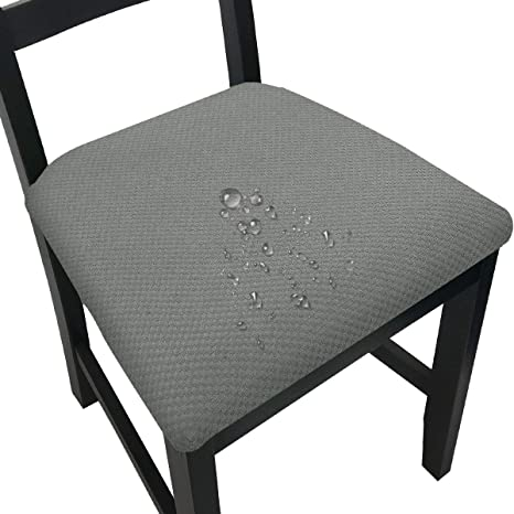 Amazon Com Chair Seat Covers For Dining Room Waterproof Chair Seat Slipcovers Light Grey 4 Kitchen Dining