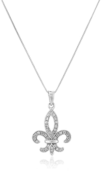 Amazon 10k white gold and diamond fleur de lis pendant necklace 10k white gold and diamond fleur de lis pendant necklace 110 cttw aloadofball