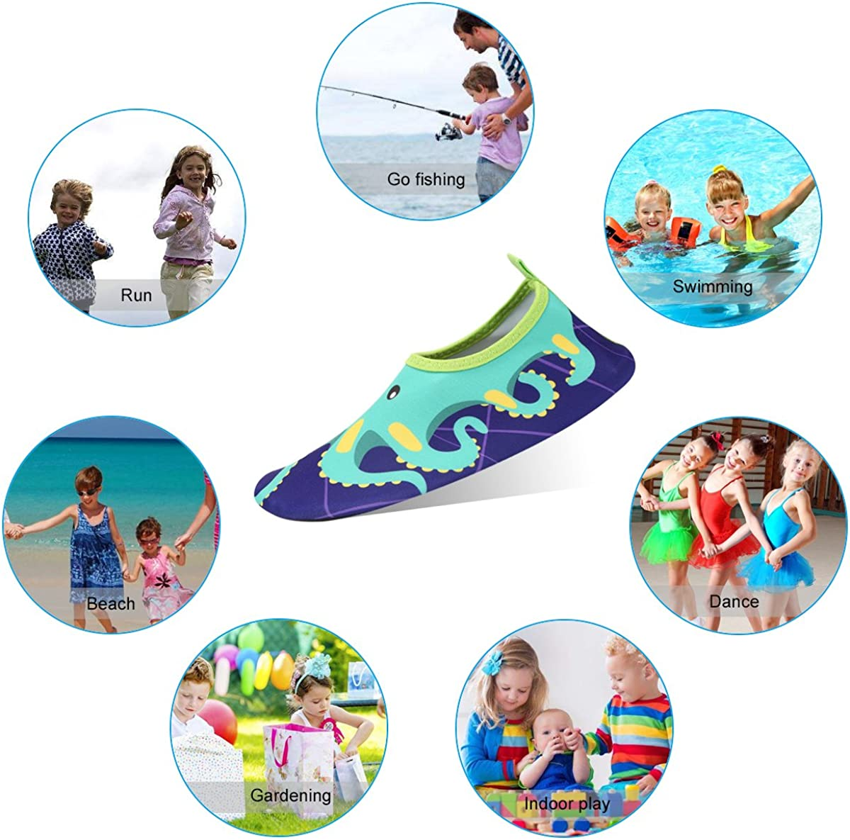 Boys Girls Quick Drying Aquatic Beach Shoes Barefoot Slip On Aqua Socks KUNSHOP Kids Water Shoes