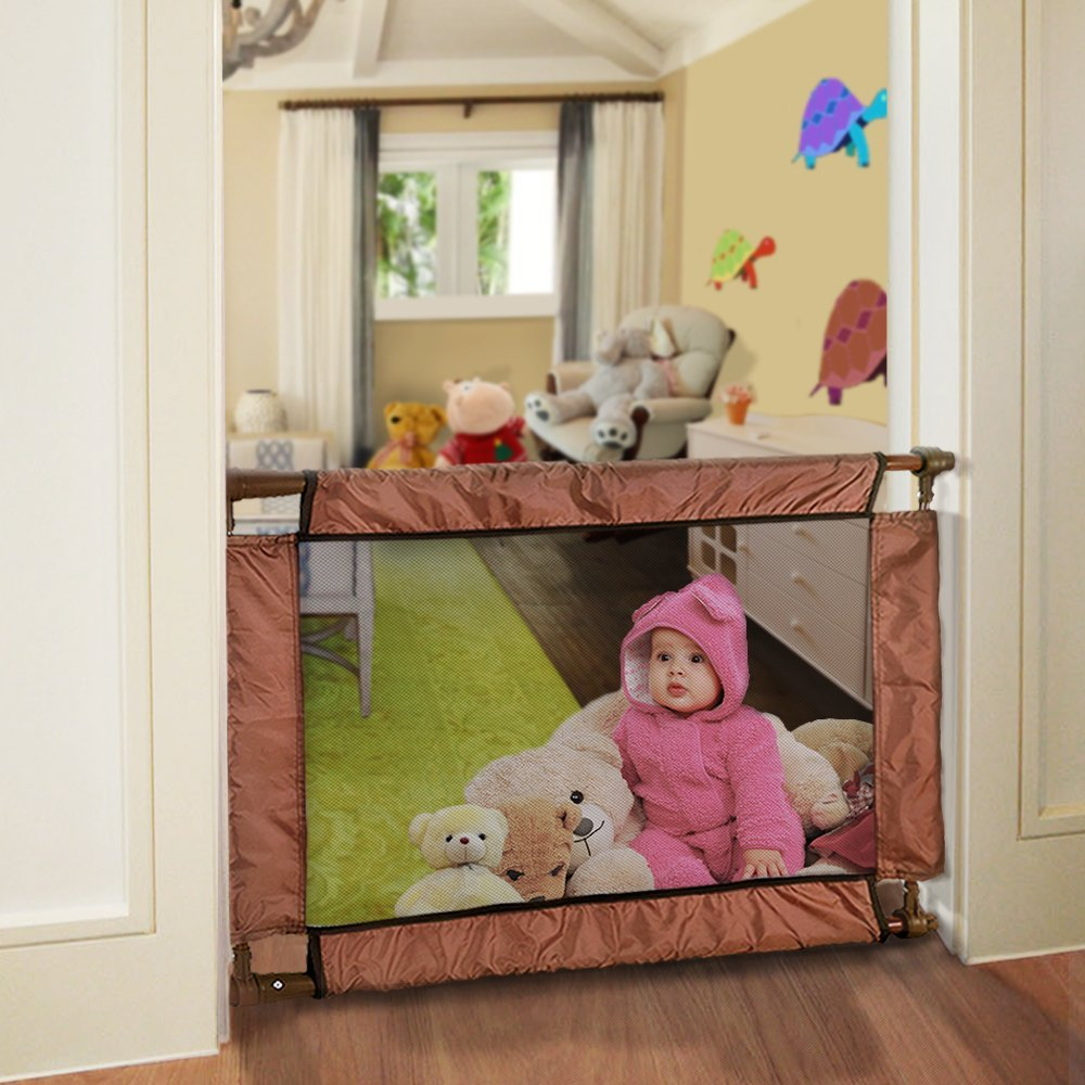 GiGis Adjustable Baby Safety Gate w/ Mesh Front. Twist and Lock Universal Fit