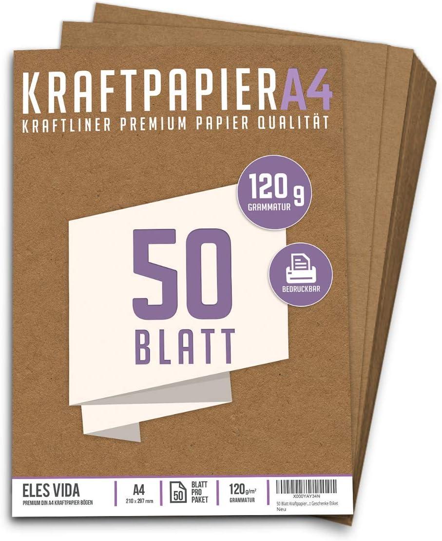 Premium Papel de Estraza A4 de 120 g – 21 x 29,7 cm - Papel de manualidades, cartón natural, hojas de cartón, papel de cartón vintage para boda, regalos y etiquetas (50