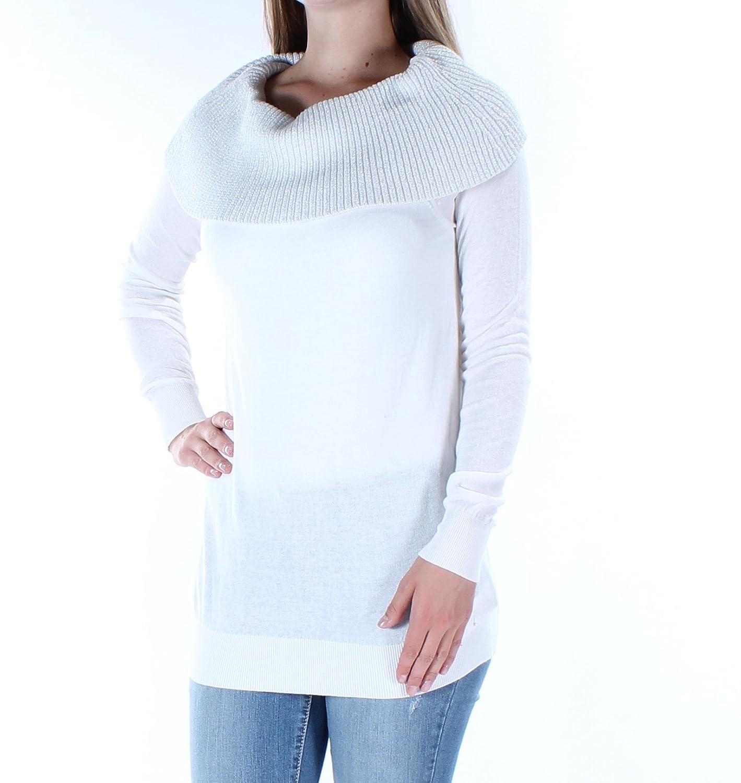 Michael Michael Korsレディースメタリックオフ肩のプルオーバーセーター B074P97BWG S|Ecru White Ecru White S