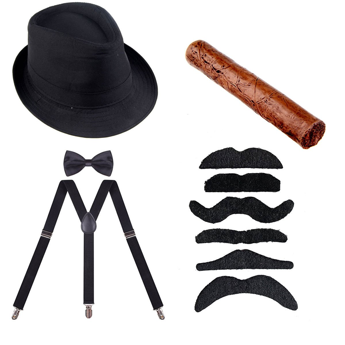 ECOSCO 1920s Mens Costume Accessories Gangster Manhattan Fedora Hat Suspenders Bowtie Toy Cigar Fake Mustache