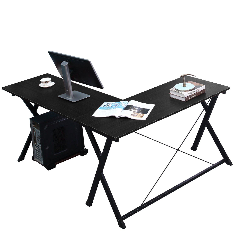 Large Corner Desk Black L Shape Computer Workstation Home Office Writing Table