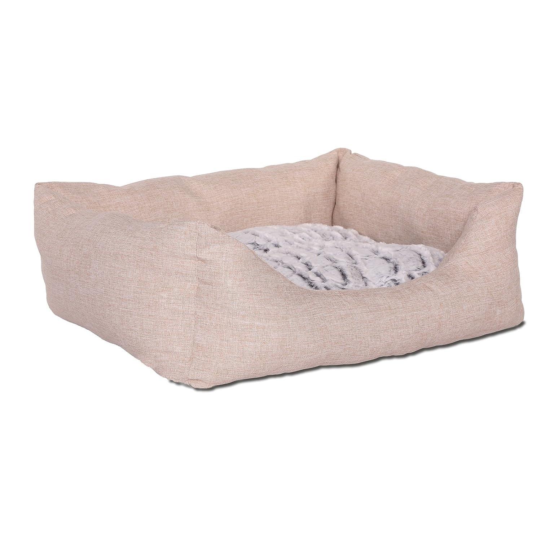 Dibea Lit/Tissu Chinée/Coussin Réversible pour Chien Beige Dimension Extérieure 80 x 60 cm DB00731