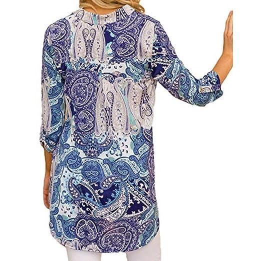 Mujer blusa Otoño manga larga casual moda elegante 2018,Sonnena Mujer Blusa con cuello en V estampada en tres cuartos manga para mujer suelto casual tops ...