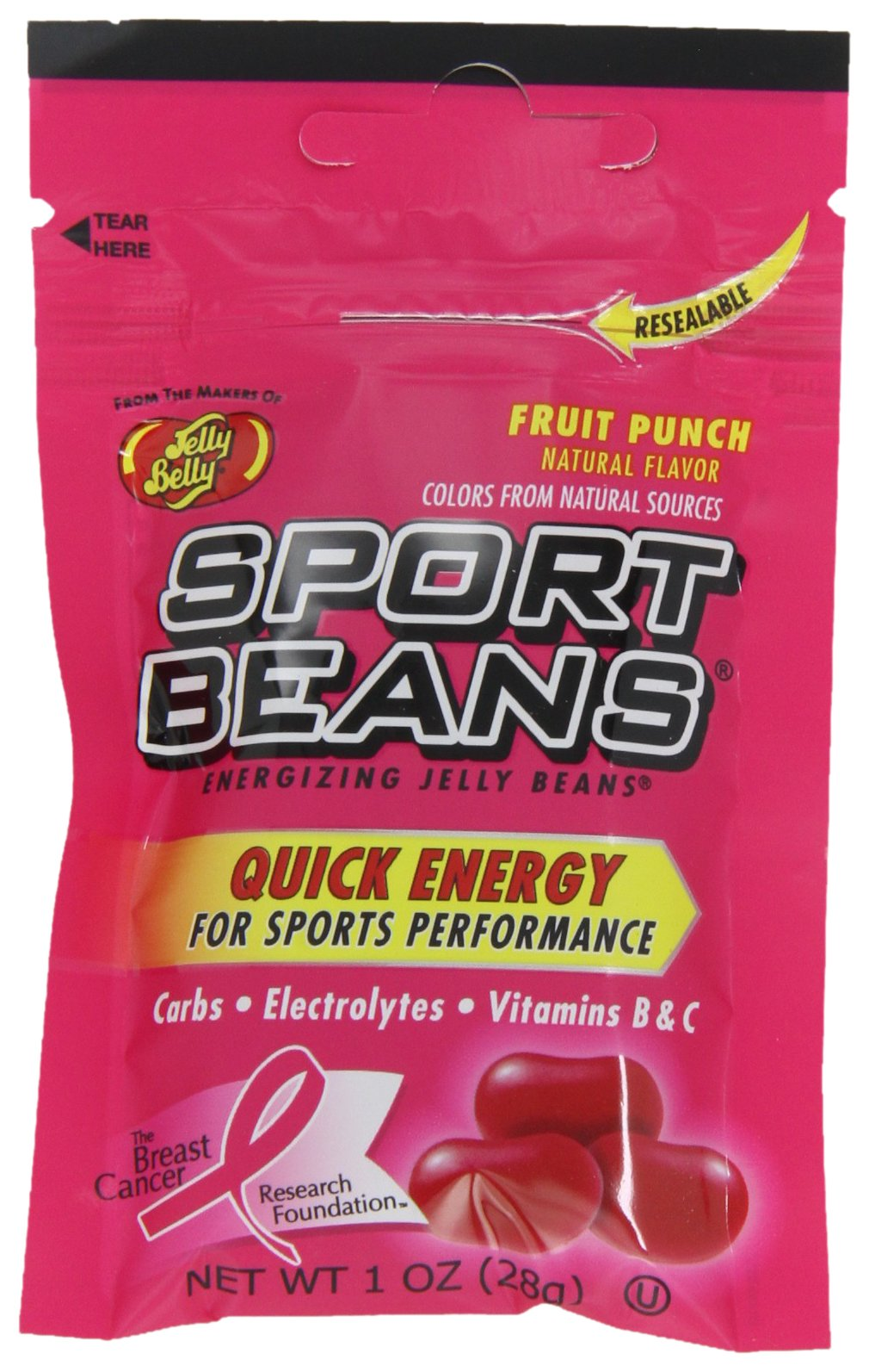 Jelly Belly Sport Beans, Fruit Punch Energizing Jelly Beans, 1-Ounce Bags (Pack of 24) by Jelly Belly