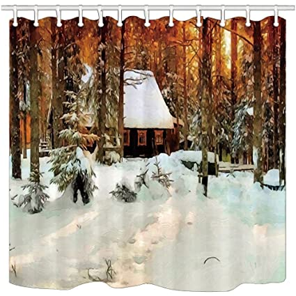 Oil Paintings Shower Curtains Winter Log Cabin In Grove Snow Mildew Resistant Polyester Fabric Bath Curtain