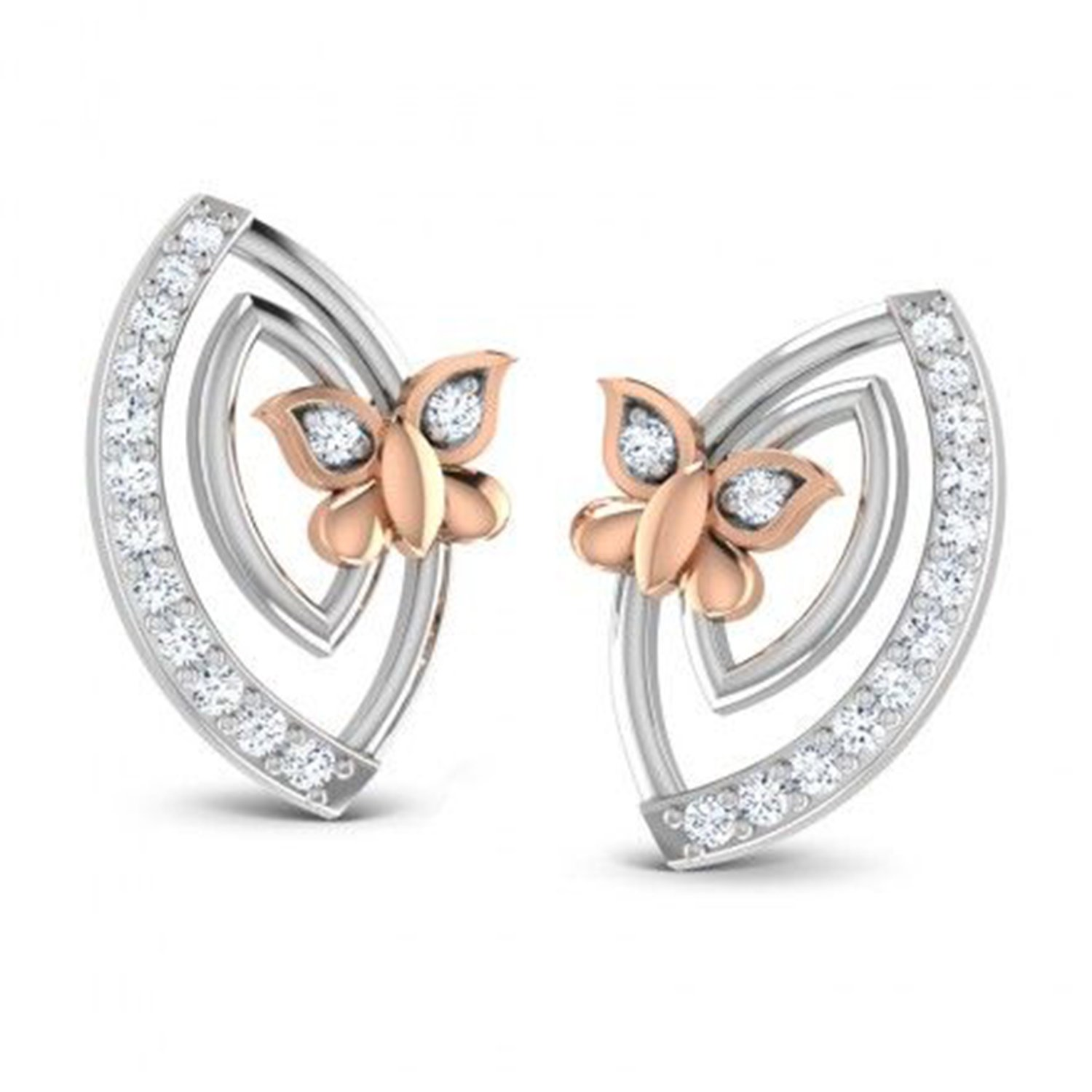 Simulated Diamond Studded 14K White Gold Plated Screwback Stud Earrings For Women Girls Jewelry