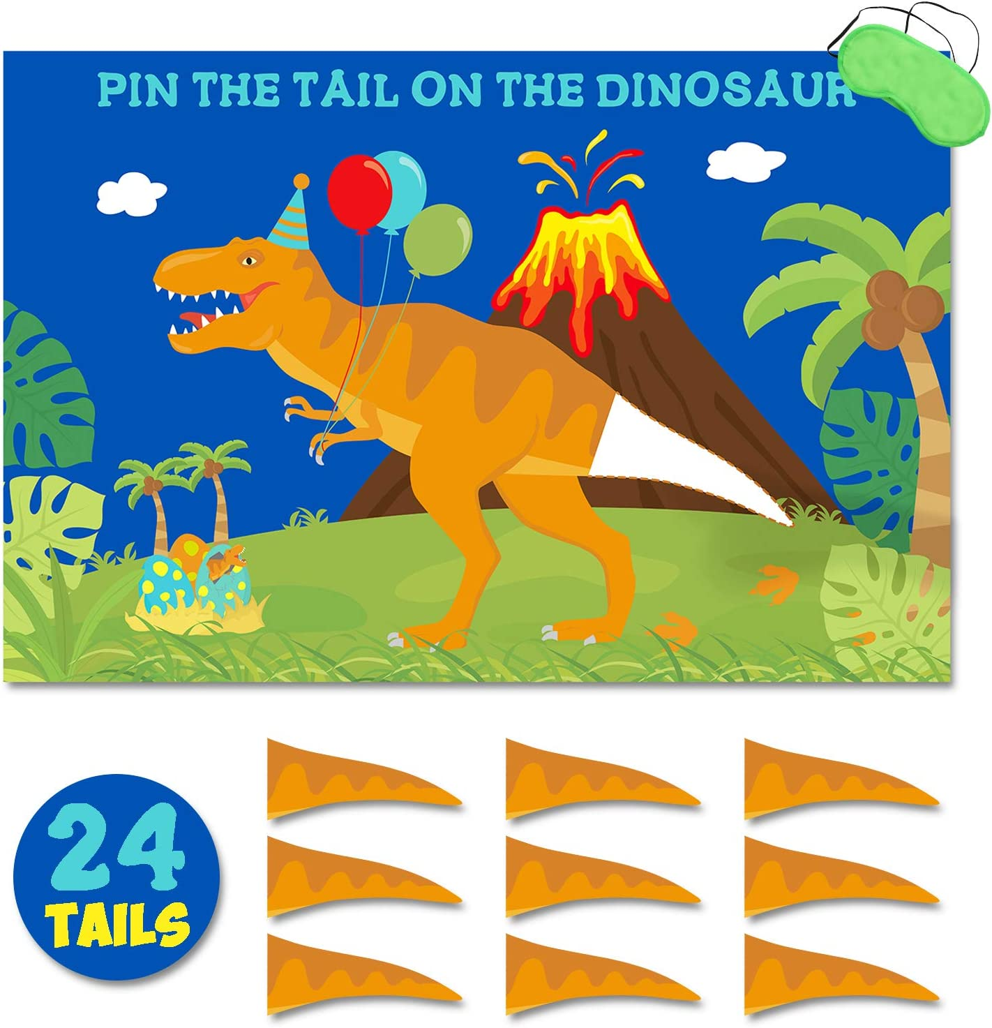 Birthday Party Game PIN THE TAIL ON THE DINOSAUR T Rex for 12 Guests