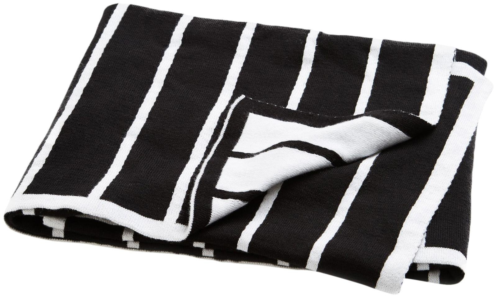 Brooklyn Born Organic Knitted Blanket - Breton Stripe, Black/White, One Size