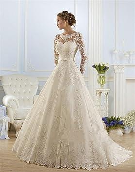 HAPPYMOOD Vestido de novia Mujer Apliques de encaje joya Mangas largas Capilla de tren Una línea