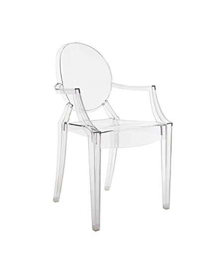 Superbe Original Kartell Louis Ghost Arm Chair, Crystal