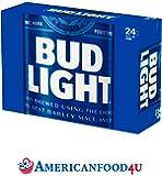 AMERICANFOOD4U Biere - Bud Light   24er Pack Dosen / Cans   24 x 355ml amerikanisches Bier   Die Original Importware aus den USA als perfektes Geschenk für Männer   Das No. 1 Beer aus Amerika - Für Deine amerikanische Grillparty, dein Barbecue (BBQ) mit Freunden oder als perfektes Getränk für die nächsten NFL, NBA oder MLB Playoffs   Das USA Spitzenbier für und aus aller Welt - Jetzt bei Dir zu Hause! [+GRATIS Dosenkühler]