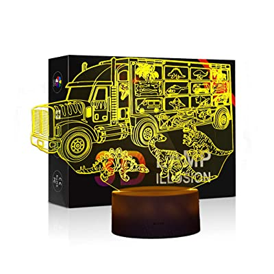 Night Lights for Kids Dinosaur 3D Night Light Bedside Lamp 7 Colors Changing with Touch Switch Best Birthday Gifts for Boys Girls Kids Baby: Home Improvement
