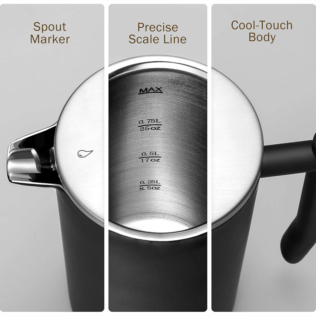 2 Extra Filters Included Black 1L Multi-Screen System Dishwasher Safe, Veken French Press Double-Wall 18//10 Stainless Steel Coffee /& Tea Maker Rust-Free