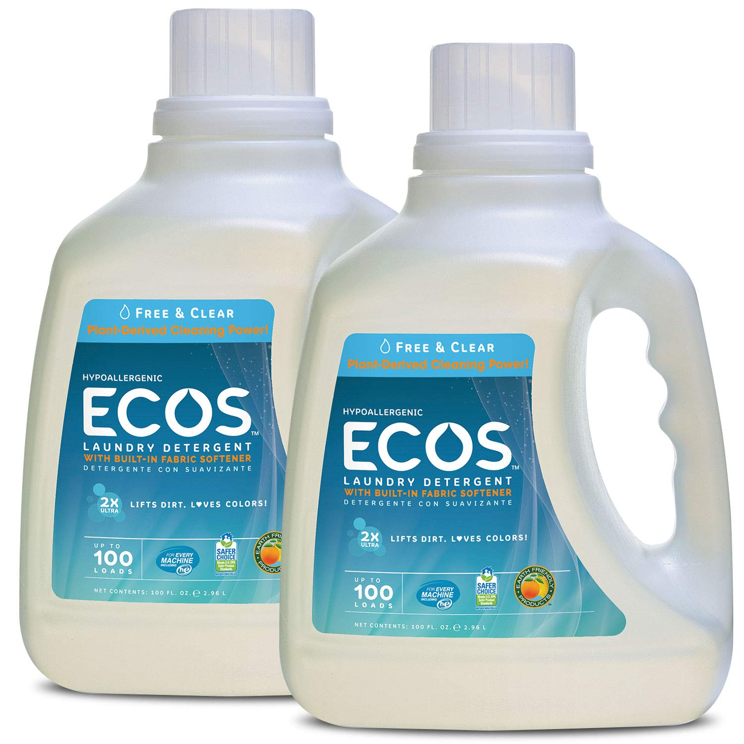 Earth Friendly Products Ecos 2x Liquid Laundry Detergent, Free & Clear, 100-Ounce Bottle (Pack of 2) by Earth Friendly Products