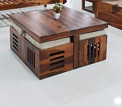 Strange Mamta Decoration Sheesham Wood Coffee Table For Living Room With 4 Stools Off White Cushion Evergreenethics Interior Chair Design Evergreenethicsorg
