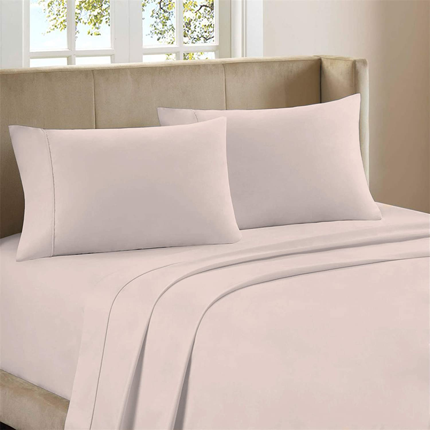 """Premium 400-Thread-Count 100% Cotton 4 Piece Ultimate Percale Bed Sheet Set, Light Pink Full Sheets,Moisture Wicking,Soft Finish, Cool Crisp,Patented Fitted Sheet Fits Upto 18"""" Deep Pocket-Purity Home"""