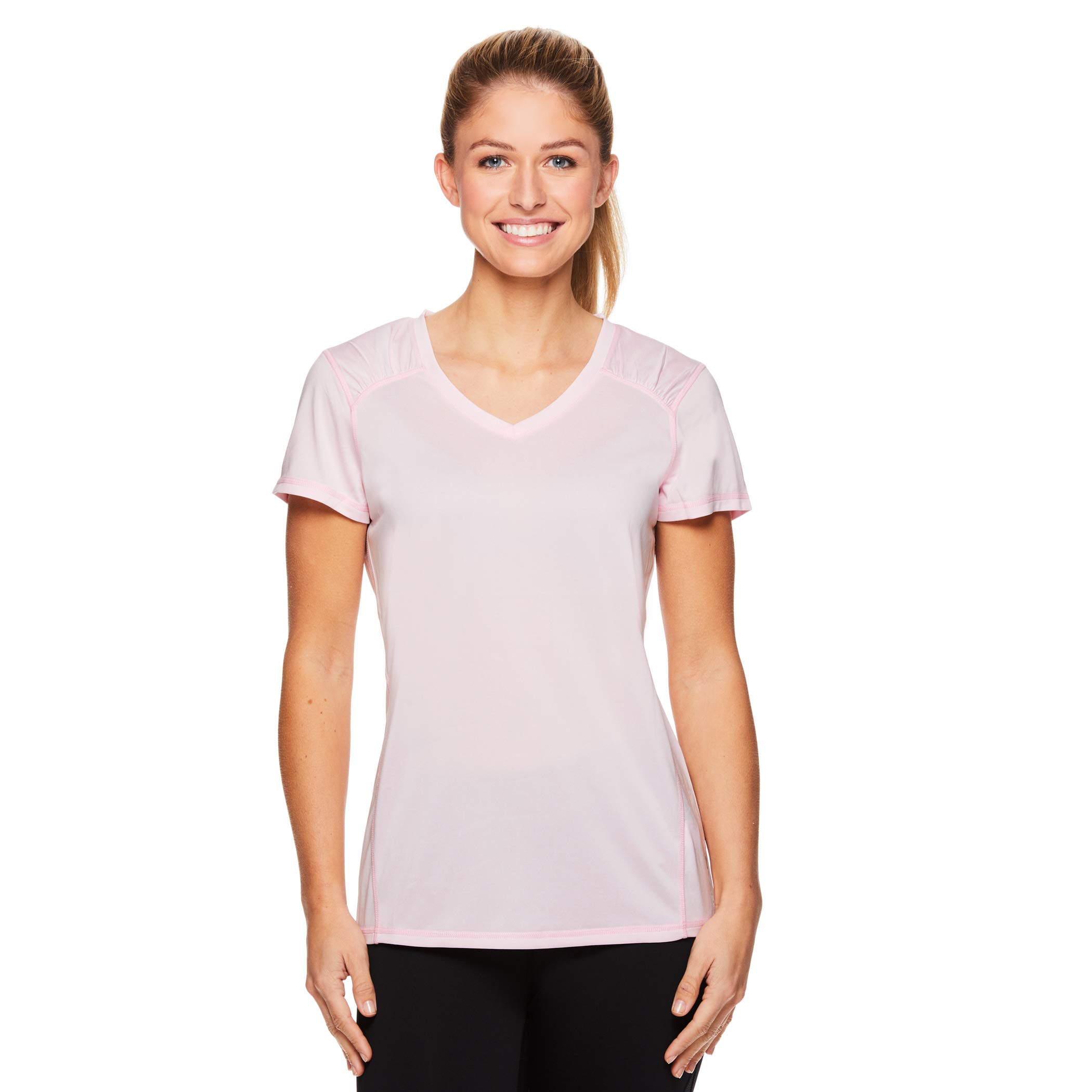 HEAD Women's Perfect Match Short Sleeve Workout T-Shirt - Performance V-Neck Activewear Top - Cherry Blossom Heather, Small