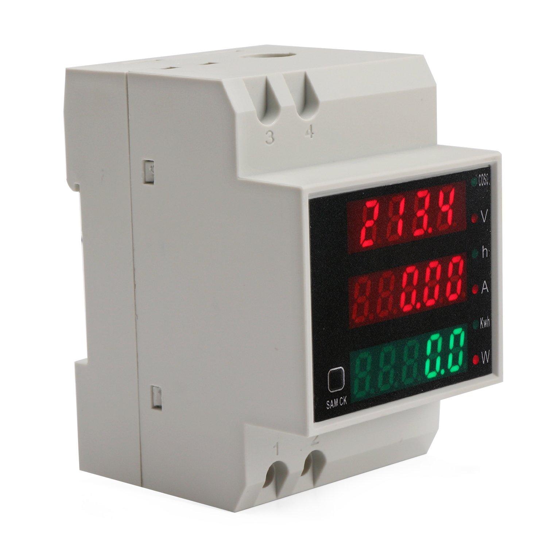 DROK DIN Rail Digital Multimeter AC Voltmeter Ammeter Power Energy KWh Meter Power Factor Accumulation Time Monitor Multifunction Meter by DROK (Image #4)