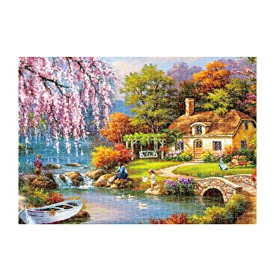 Jigsaw Puzzles for Adults 1000 Piece Cherry Blossoms Rural Life Landscape Painting Jigsaw Puzzles for Toy Game Explore Creativity and Problem Solving-DIY Home Decor: Toys & Games