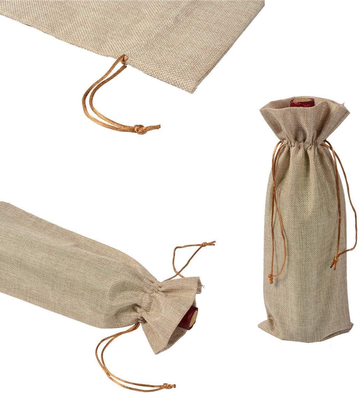 DeHub Sacchi di Vino in Juta da 10 Pezzi Colore Juta 35cm x 15cm Bustine di Vino Hesse con Portamonete,Ideali Borse per Vino