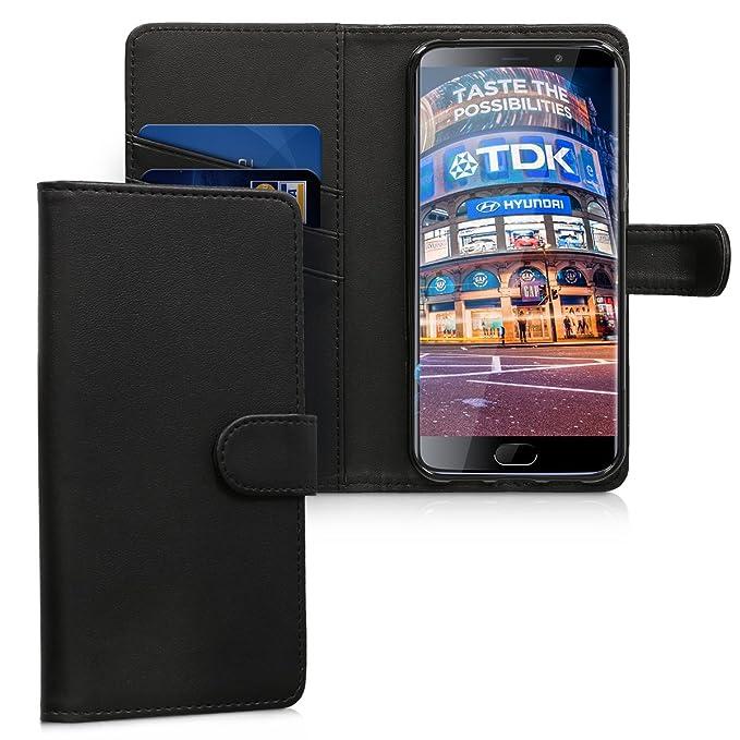 kwmobile Funda para Elephone S7 4G LTE - Carcasa de Cuero sintético - Case con Tapa y Tarjetero en Negro
