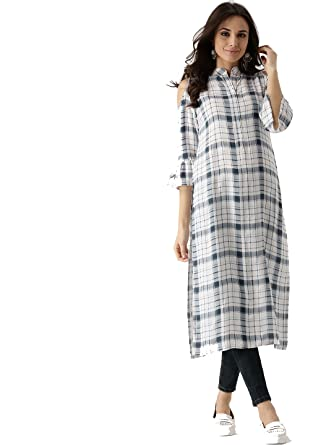 279cc9140f White Checks Indian Women Designer Kurta Kurti Bollywood Tunic Ethnic  Pakistani Top Dress Tunics Rayon Long