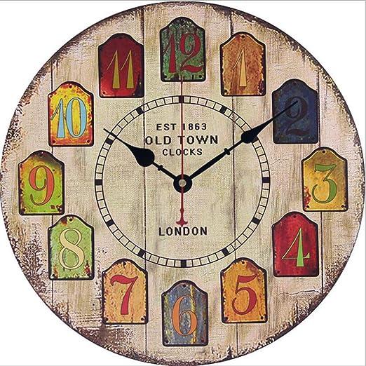 Amazon.com: FUSHENG Reloj De Pared, Reloj De Pared Del País, Reloj De Pared Silencioso, Reloj De Pared De Madera, Reloj De Pared Decorativo,E: Home & ...
