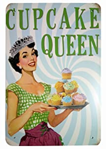 ERLOOD Cupcake Queen Home Decor Metal Tin Sign Wall Decorative Sign 8 x 12